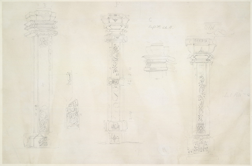 Drawing from a set of sixteen architectural details from Hindu and Muhammadan buildings in India, including Colgong, Deo, Bodhgaya. 1788-93 1786
